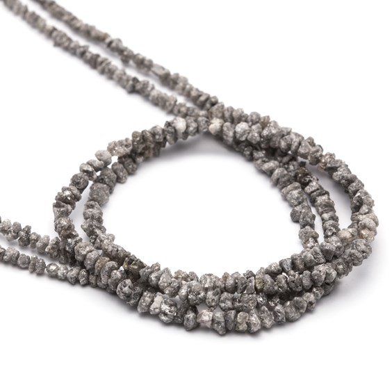 Silver Grey Diamond Natural Rough Nugget Beads