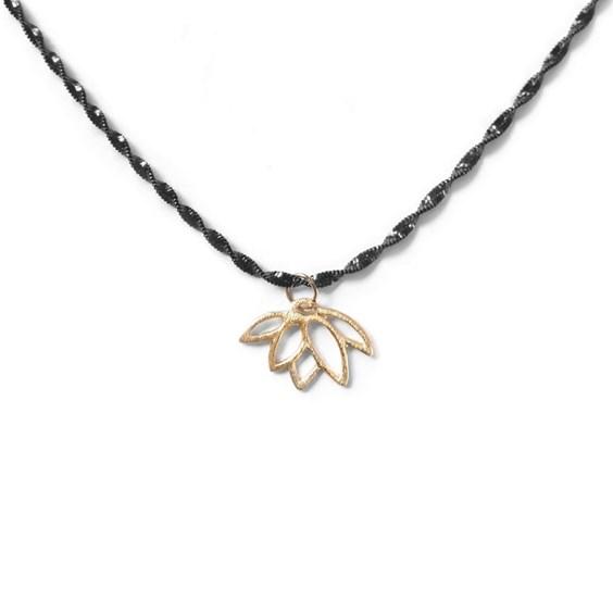 Gold Vermeil Lotus Flower Black Necklace