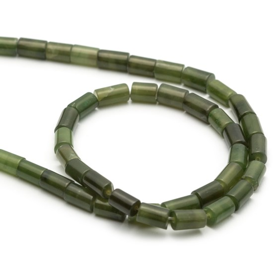 Jade Cylinder Beads, Approx 6x4mm