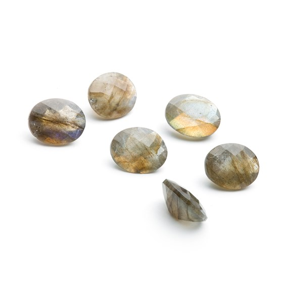 Labradorite Checker Cut Faceted Stones, Approx 10x8mm Oval