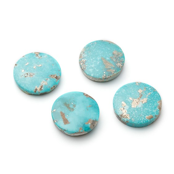 Untreated Natural Persian Turquoise Round Cabochon, Approx 20mm