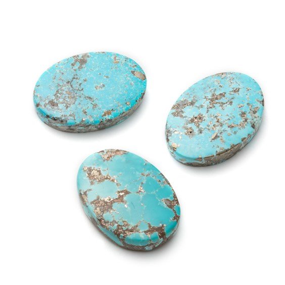 Untreated Natural Persian Turquoise Oval Cabochons, Approx 25x18mm