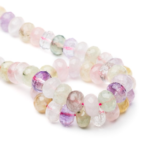 Multi Quartz Faceted Rondelle Beads