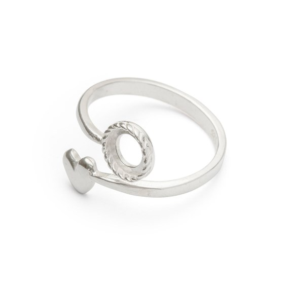 Sterling Silver Adjustable Milled Edge Heart Ring For 6mm Round Cabochon