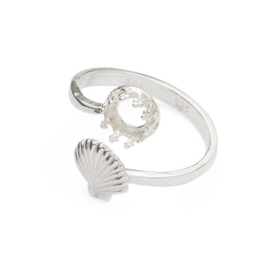 Sterling Silver Adjustable Gallery Wire Shell Ring For 6mm Round Cabochon