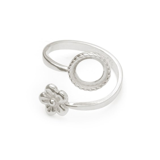 Sterling Silver Adjustable Milled Edge Flower Ring For 8mm Round Cabochon