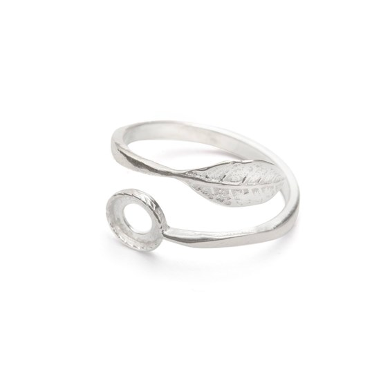 Sterling Silver Adjustable Leaf Ring Setting For 6mm Round Cabochons