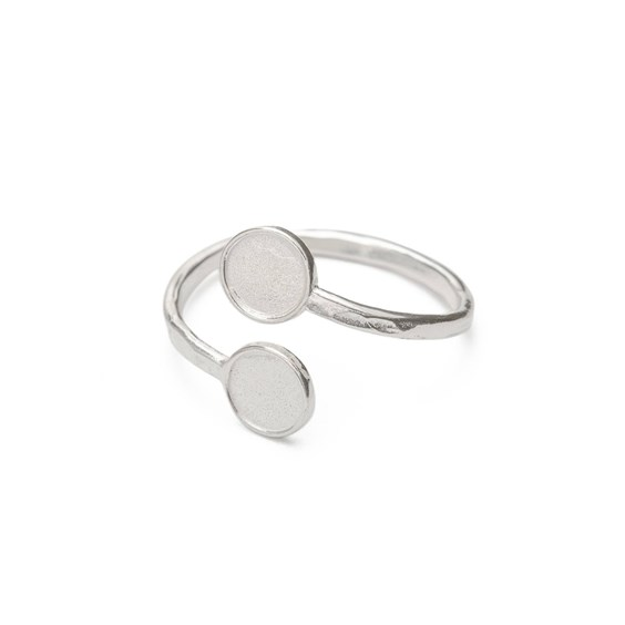 Sterling Silver Adjustable Ring For 6mm Round Cabochons