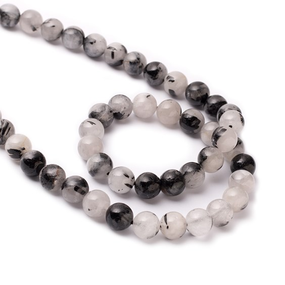 Black Tourmalinated Quartz Round Beads