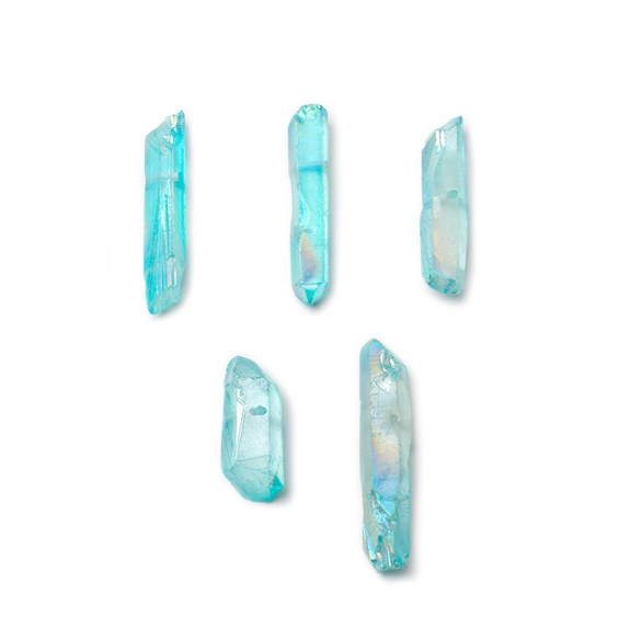 Mystic Turquoise Quartz Points, Approx 10x6mm To 50x25mm, Packs Of 10 Points