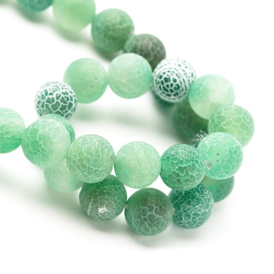 Sea Green Frosted Cracked Agate Round Beads