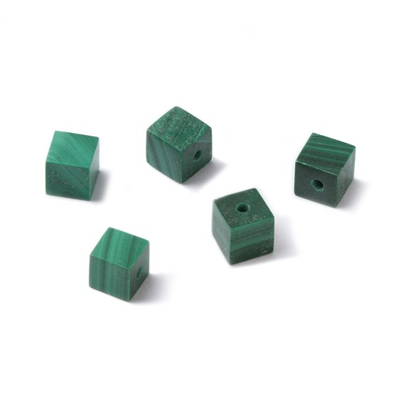 Malachite Half Drilled Cube Beads, 4mm
