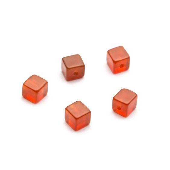 Carnelian Half Drilled Cube Beads, 4mm