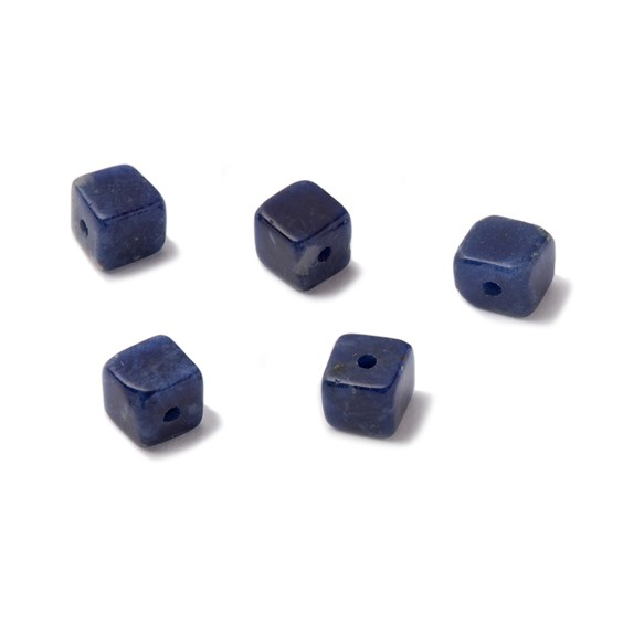 Sodalite Half Drilled Cube Beads, Approx 4mm