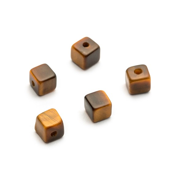 Tiger Eye Half Drilled Cube Beads, 4mm