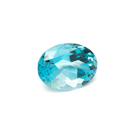 Swiss Blue Topaz 16.5x13mm Faceted Oval Stone