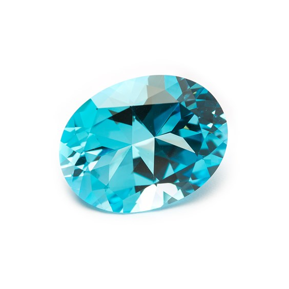 Swiss Blue Topaz 22x17mm Faceted Oval Stone