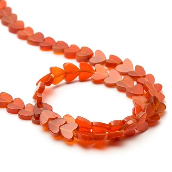 Carnelian Heart Beads, 5mm