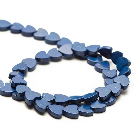 Lapis Lazuli Heart Beads, 5mm