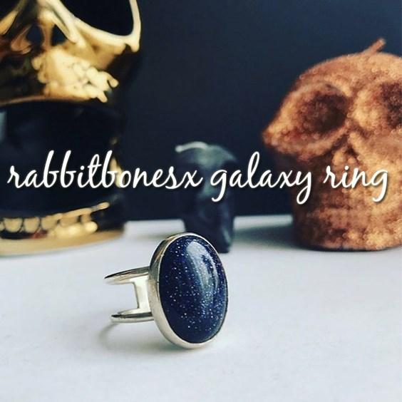 rabbit bones x blue goldstone ring