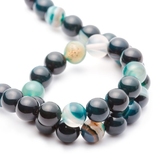 Green Banded Agate Round Beads 8mm