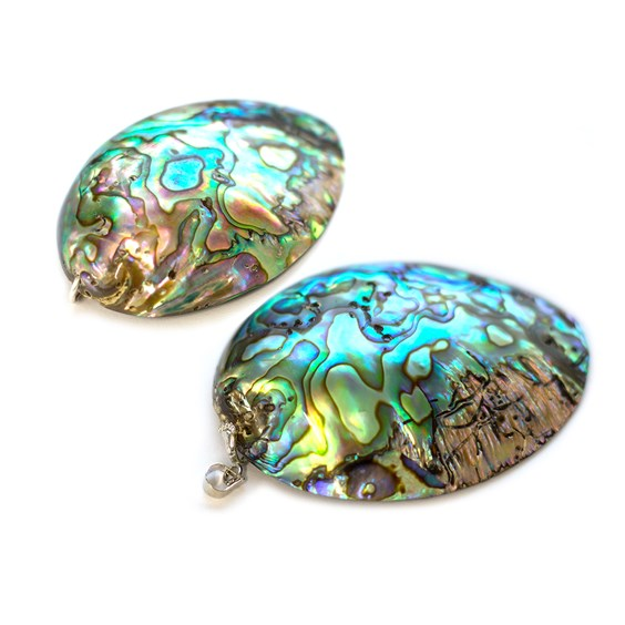 Paua Shell Oval Pendant, Approx 50x45mm