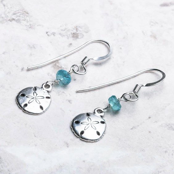 Apatite & Sand Dollar Earrings
