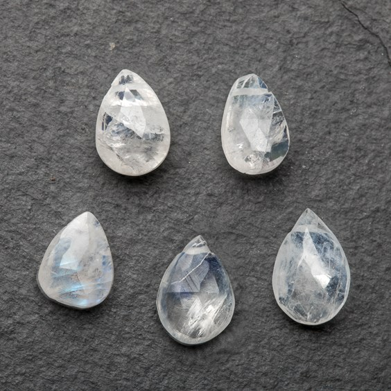 Rainbow Moonstone Faceted Teardrop Briolette Beads, Approx 7mm To 10mm