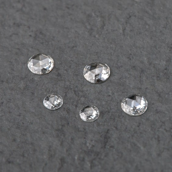 Diamond Rose Cut Cabochons, Approx 3-3.4mm Round