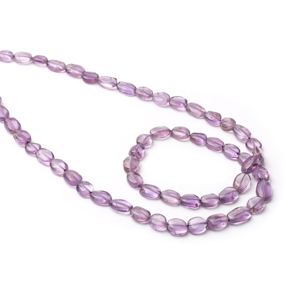 Amethyst Flat Oval Nugget Beads