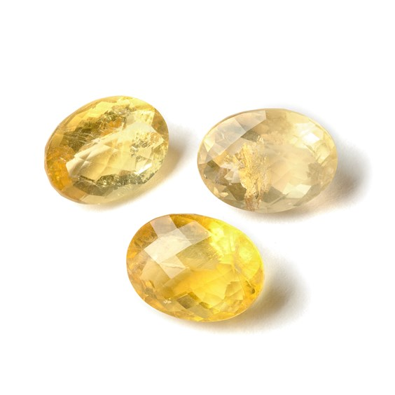Yellow Fluorite 15x11mm Oval Checker Cut Faceted Stone