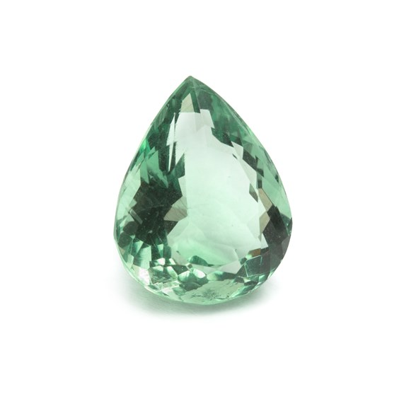 Green Fluorite 19.5x16mm Faceted Teardrop Stone