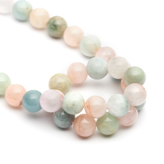 Morganite And Aquamarine Round Beads