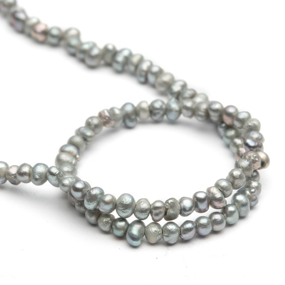 Mini Cultured Freshwater Silver Potato Pearls, Approx 2.5x1mm
