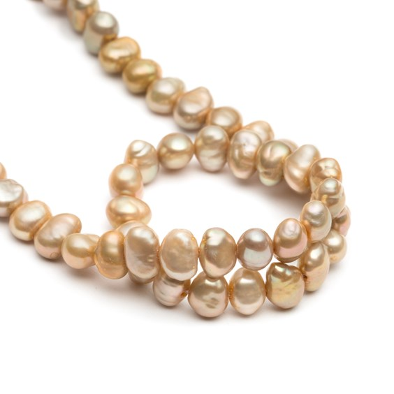 Cultured Freshwater Champagne Semi-Baroque Pearls, Approx 5-7mm