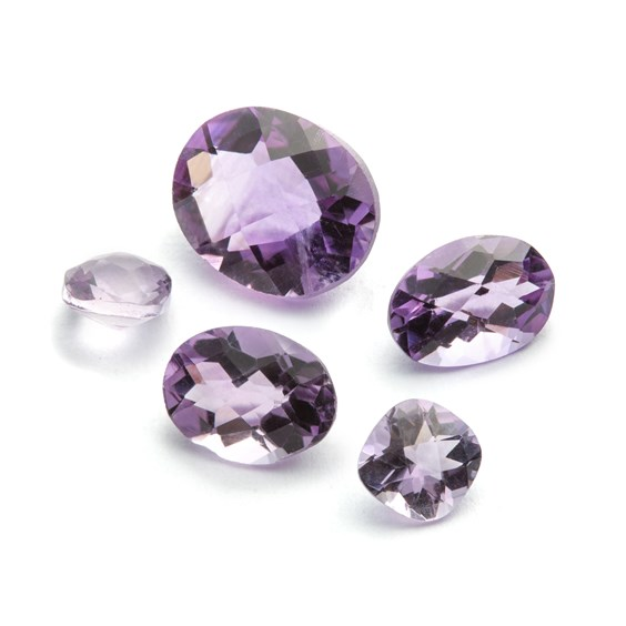 Brazilian Amethyst Checker Cut Stone, 8x6mm Oval