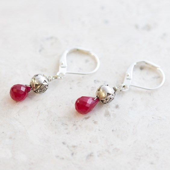 Ruby Drop Shape Faceted Briolettes
