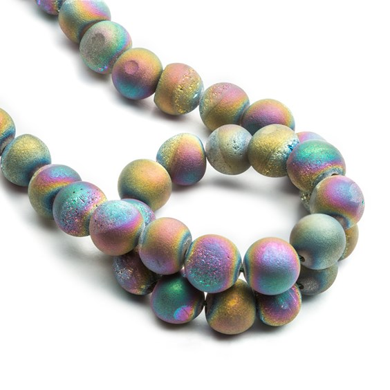 Peacock Agate Drusy Round Beads, Approx 8mm