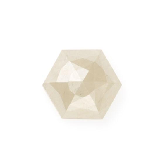 Silver Diamond Rose Cut Hexagon Cabochon, Approx 4mm