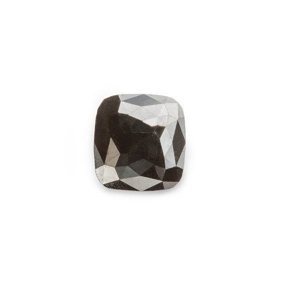 Black Diamond Rose Cut Cabochon, Approx 6.5x6mm Rectangle