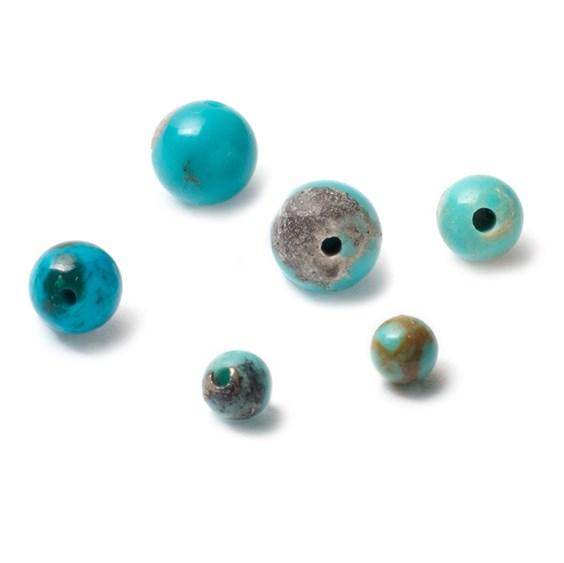 Turquoise Matrix Half Drilled Round Beads