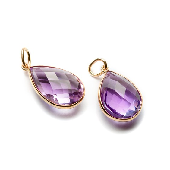 9ct Gold Faceted Amethyst Teardrop Pendant