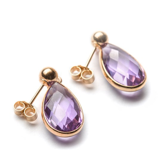 9ct Gold Faceted Amethyst Teardrop Earrings, Approx 14x8mm