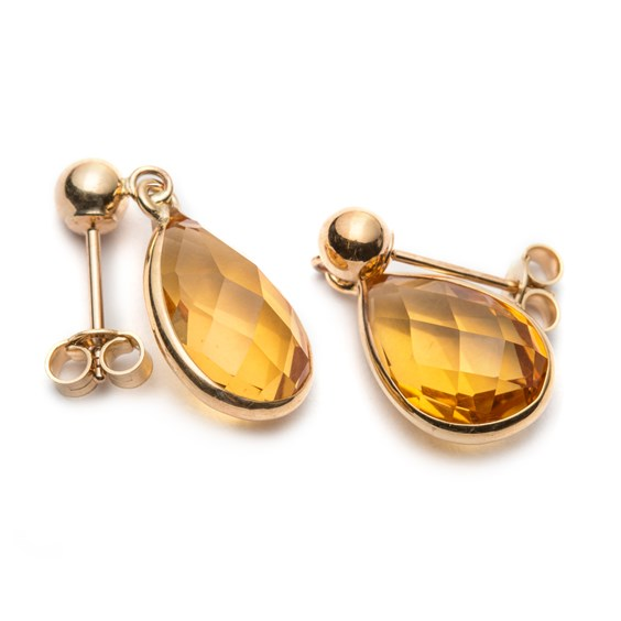 9ct Gold Faceted Citrine Teardrop Earrings, Approx 14x8mm