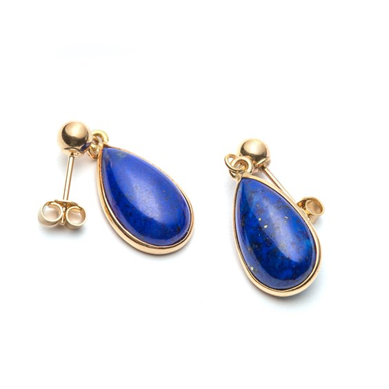 9ct Gold Lapis Lazuli Teardrop Cabochon Earrings, Approx 14x8mm