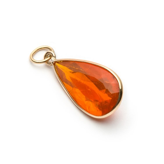 9ct Gold Faceted Fire Opal Teardrop Faceted Pendant, Approx 19.5x10mm