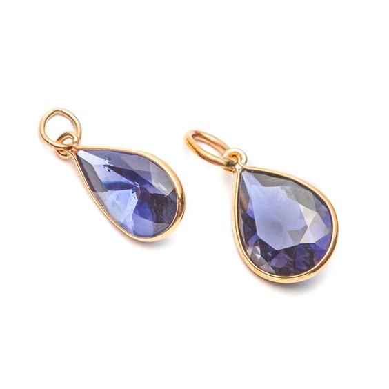 9ct Gold  Faceted Iolite Teardrop Pendant