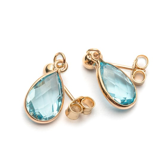 9ct Gold Faceted Sky Blue Topaz Teardrop Earrings, Approx 9x6mm
