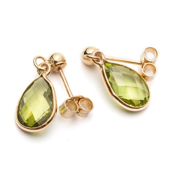 9ct Gold Faceted Peridot Teardrop Earrings, Approx 9x6mm