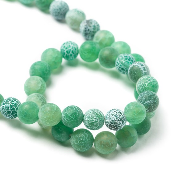 Sea Green Frosted Agate Round Beads